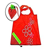 AKORD Strawberry Fold up Reusable Compact Eco Periodic Duty Recycling use Shopping Bag, Red, 58 x 37.4 x 2 cm