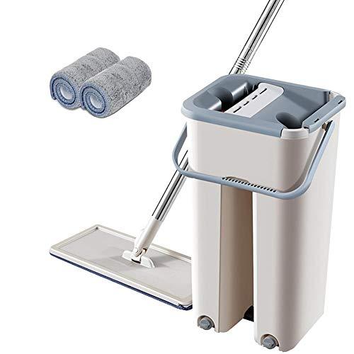 circulor Mop Eimer System, Flach-mopp Eimer Set, Set Teleskopstange Mikrofasermopp 60-128cm, Eimer + Mopp + 2 Lappen
