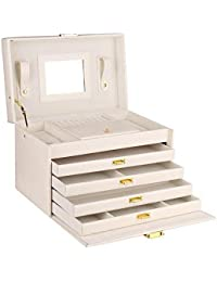 Large Lovely Jewellery Box Beautify Cosmetics Case Roomy Elegant Armoire 4 Drawers (White)