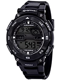 Konigswerk AQ202904G - Reloj cronógrafo para hombre, impermeable a 100 m, con alarma, LCD, hora dual, correa negra, estilo deportivo y militar