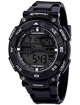 Konigswerk Herren 100m wasserdicht Alarm LCD Dual Time Chronograph Schwarz Band Military Sport Armbanduhr aq202904g