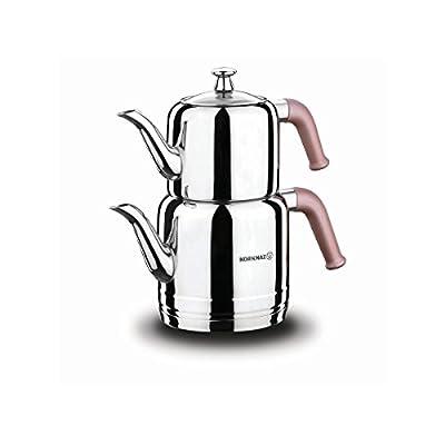 Korkmaz Riva Théière en Jeu Bouilloire Bouilloire pour Thé Bouilloire Samowar Acier Inoxydable 3 Liter Induction Appropriée Turc Thé Thé Noir