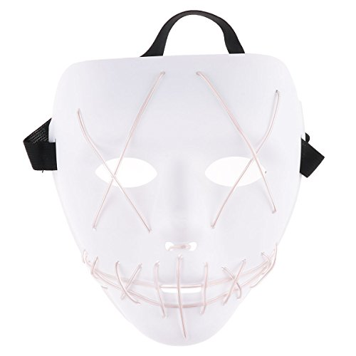 (CHICTRY LED Light Maske EL Wire Cosplay Maske Purge Mask Blitzmodi Horror Halloween Maske Cosplay Festival Fasching Karneval Kostüm Weiß One Size)