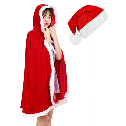 LONTG Umhang mit Kapuze Weihnachten Winter Herbst Kostüm weich warm Unisex Mädchen Kinder Jungen Erwachsene Bekleidung lang 1,2m Kapuzenmantel für Carnival Fasching Rollenspiel Festival Cosplay - Santa Claus Kostüm Für Verkauf