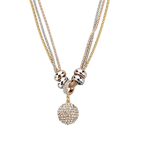 Rose gold pendant necklace amazon long way womens gold silver rose gold long chain crystal full rhinestone ball drop pendant necklace mozeypictures Choice Image