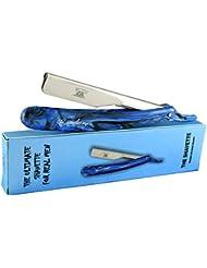 CANDURE® - Blue Professional Stainless Steel Straight Cut Throat Razor - Traditional razor, Raptor Shavette + Free travel Case