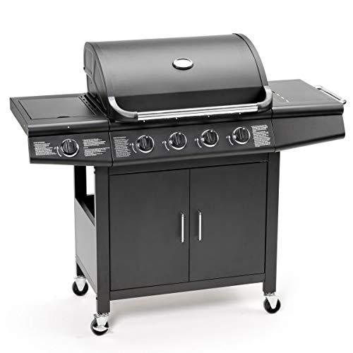 TAINO® Pro Gasgrill BBQ Grill-Wagen 4 Edelstahl-Brenner TÜV Gasbrenner Farbe Schwarz (Gasgrill 4+1 Set)