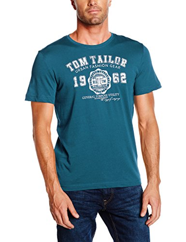 TOM TAILOR Herren T-Shirt Logo Tee, Grün (Sleek Petrol 7810), Medium (Medium Grün Schuhe)