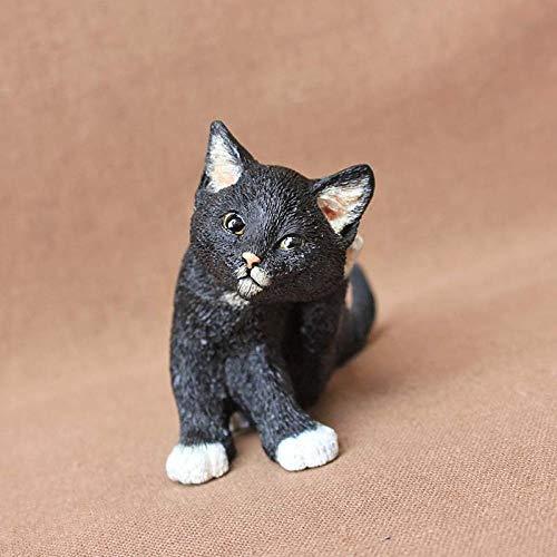 ZXZMONG Deko Skulpturen Statue Figur,Harz Schwarze Katze Dekoration Simulation Tier Puppe Halloween Schwarze Katze