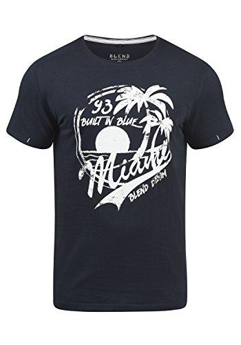 Blend Perry Herren T-Shirt Kurzarm Shirt mit Print und Rundhalsausschnitt, Größe:S, Farbe:Dark Navy Blue (74645) (Dark Navy Polo)