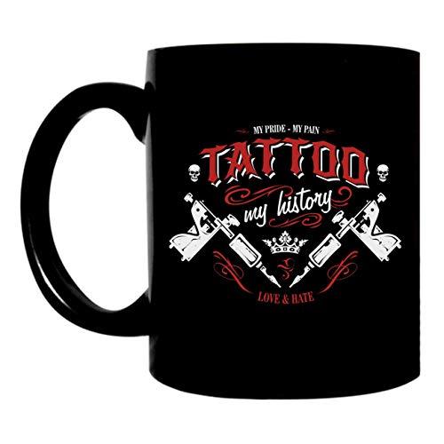 Kaffeetasse schwarz 300ml große Tasse bedruckt mit Motiv TATTOO - My History