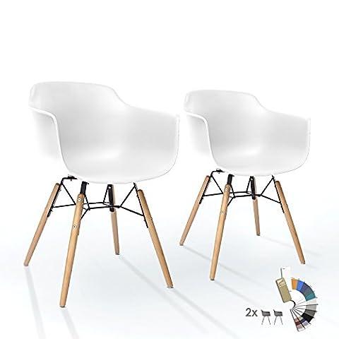 Lot de 2 Chaises LTD83 Chaise Salle à Manger en Plastique Blanc Confortable Polypropylen Pied Massif Bois Scandinave Salon Bistrot Industrielle Vintage