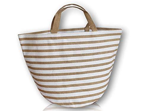 SG Produkte I Umweltfreundliche Einkaufstasche aus 100{4a4b1300946e2748739604f1d7bf62b05e54ef1ee59ca00d6f086bb0bdc17a8f} Jute I Modische Strandtasche I Jutetasche (weiß)