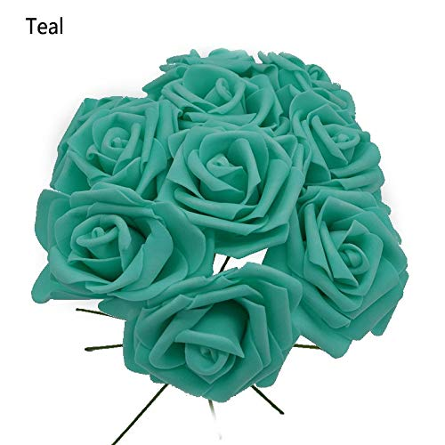 10 Heads 8CM Pretty Charming Artificial Flowers PE Foam Rose Flowers Bride Bouquet Home Wedding Decor Scrapbooking DIY Supplies, Teal