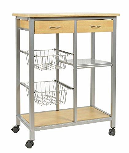 ts-ideen Chariot de cuisine à roulettes Table d'appoint pour cuisine Meuble de rangement pour petits espaces Alu + bois