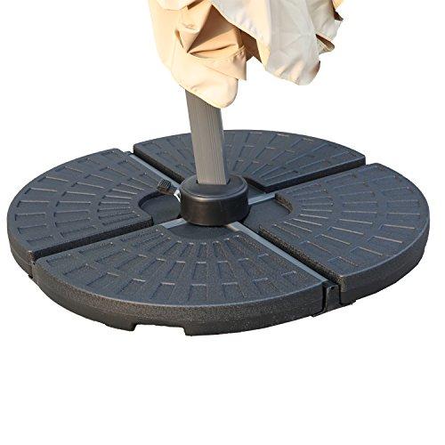 Angel Living 5802213 13L Sektor Sonnenschirmständer, Gewichte für Banana Hängende Freischwinger Sonnenschirm Schirmständer, 4 Platten Grau, aus Plastik