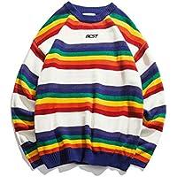 Zyh Suéteres para Hombres, 2018 Otoño Invierno Moda Suéter a Rayas O-Cuello Camisa Floja Ocasional Floja Personalizada Knit Jumper de Manga Larga (Color : UN, tamaño : SG)