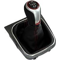 AERZETIX: Pomo, funda y marco para palanca de cambios 5 velocidades de coche,