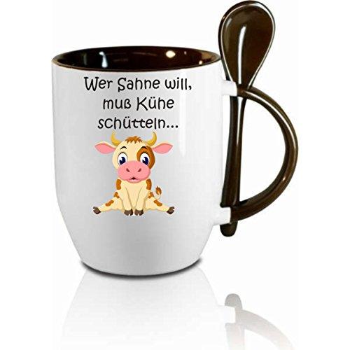 """Tasse m. Löffel """" Wer Sahne will muss Kühe schütteln """" Löffeltasse, Kaffeetasse mit Motiv,Bürotasse, bedruckte Tasse mit Sprüchen oder Bildern - auch individuelle Gestaltung nach Kundenwunsch"""