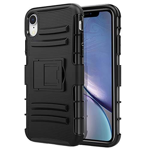 MoKo iPhone XR 6.1 Case - Cover con Clip a Cinghia e Supporto Integrato, Custodia a Doppio Stato Protettiva Rigida Antiurti per iPhone XR 6.1 inch 2018 - Nero