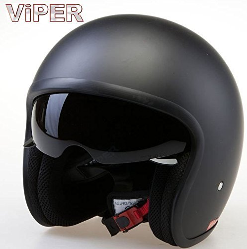 Casque Moto Jet Viper V-06 Scooter casque Jet Vintage Casque avec pare-soleil interne Noir Mat (M)