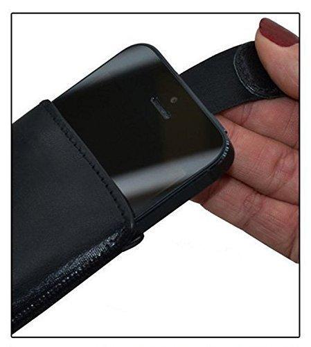 iPhone X Leder Etui *Ultra Slim* Tasche Handytasche Original Suncase Ledertasche Schutzhülle Case Hülle (mit Rückzuglasche) schwarz-veloursleder schwarz mit blauen nähten