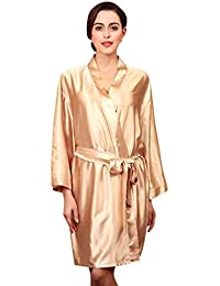 e2dbe8b5ca3 Ladies Bathrobe Summer Satin Gown Dressing Solid Color Vintage Pretty  Trendy Nightgown Long Sleeve V Neck