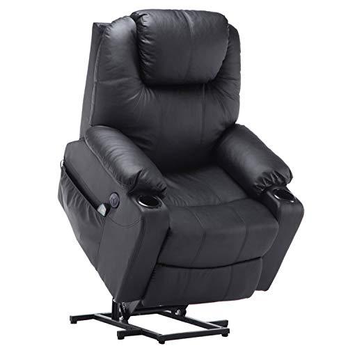 MCombo Elektrisch Aufstehhilfe Fernsehsessel Relaxsessel Massage Heizung elektrisch verstellbar USB (Schwarz) -