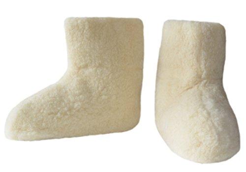 SamWo Chaussons chauffe-pieds en 100% laine de mouton Couleur naturelle Plusieurs tailles Naturel