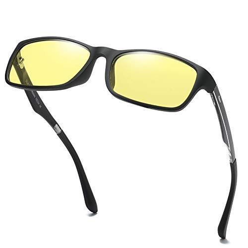 DUCO volle Randbrille ergonomisches Design Computer Gaming mit gelb getönten Gläsern Blaulicht-Schutz Bildschirmbrille 223 (Schwarz)