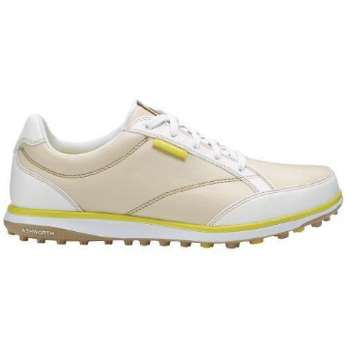 2014 Ashworth Cardiff ADC Spikeless Ladies Leather Golf Shoes Light Khaki 4UK