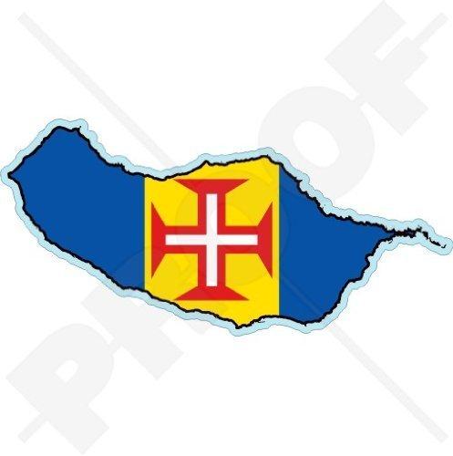MADEIRA INSEL Karte-Flagge Funchal Portugal, MADEIRAN Portugiesisch 120mm Auto & Motorrad Aufkleber, Vinyl Stickers