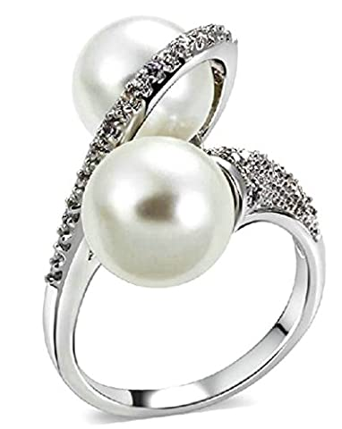 18k Gold Plated Rings, Women's Promise Rings CZ Double Pearl Shaped Size R 1/2 White Gold Epinki