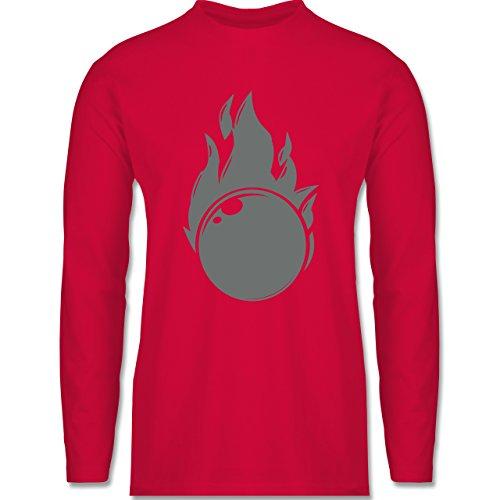 Bowling & Kegeln - Kegeln Flammen Kugel einfarbig - Longsleeve /  langärmeliges T-Shirt für