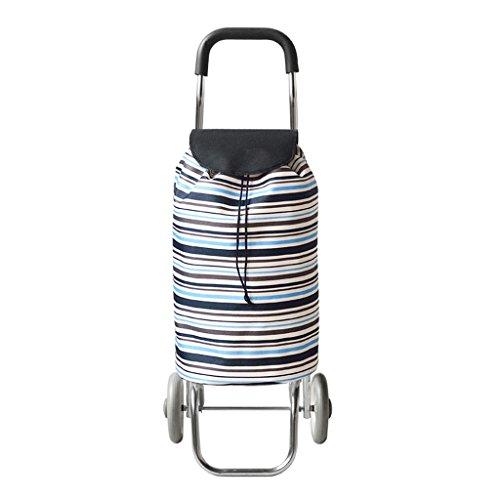 Leichter Einkaufswagen | Einkaufswagen-Laufkatze-Treppen-kletternder faltender Wagen-2 Rad zusammenklappbarer Stoß, Zug-Karren Gepäck-Schulter-Handtaschen-Wagen-tragbare Tasche Horizontale Streifen-gr