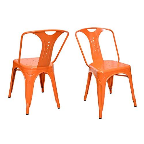 Lote de 2 sillas Retro Vintage de diseño industrial, apilables, estilo metal, de 44 x 38 x 88 cm (4 colores), para interior y exterior, naranja