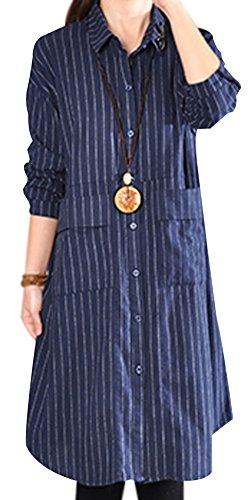 P Ammy Fashion Women's Solid Color V-Neck Cotton & Linen Long Sleeves Blouse Dress