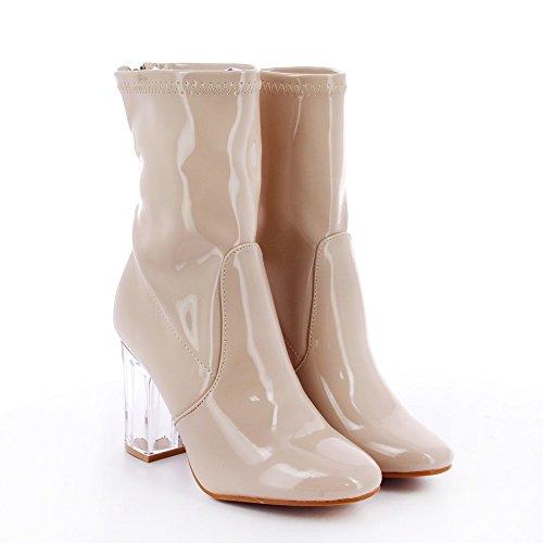 Ideal Shoes - Bottines montantes avec talons transparents Margaux Beige