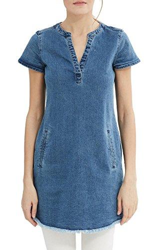 ESPRIT Damen Kleid 027EE1E025, Blau (Blue Light Wash 903), 36 (Herstellergröße: S)