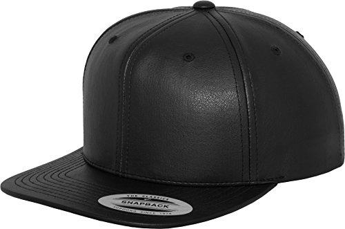 Design Kunstleder Cap Rapcap Damen Herren Snapback Mütze schwarz FLexfit rap hiphop