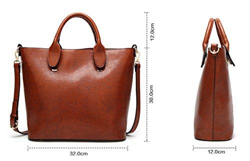 PDFGO Lokomotive Bag Bucket Bag Einfache Casual Handtasche Oblique Cross Weibliche Tasche Tote Bag Öl Wachs Große Kapazität B