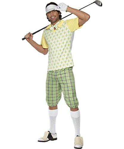 Golfer Für Erwachsenen Kostüm - Golfer Kostüm für Erwachsene gelb grün
