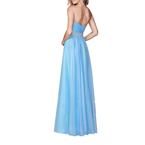 Charmant Damen Royal Blau Aermellos Chiffon Abendkleider Ballkleider Partykleider Abschlussballkleider Lang Neu Rosa