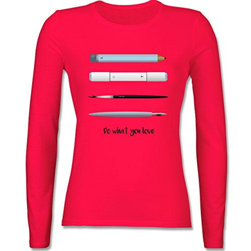 Designer - Love art - tailliertes Longsleeve / langärmeliges T-Shirt für Damen Rot