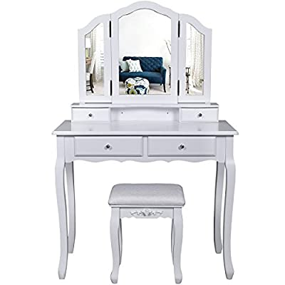 Songmics 3 Mirrors Large Wall-Fixed Dressing Table with Stool, 4 Drawers Incl. 2 Dividers Makeup Dresser RDT07W