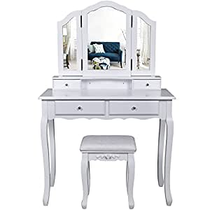 songmics grande coiffeuse table de maquillage avec 3 miroir 4 tiroirs s parations pour tiroir. Black Bedroom Furniture Sets. Home Design Ideas