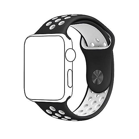 Pour Apple Watch Band Série 1 série 2, souple en silicone Sport Bracelet de remplacement Sangle pour iWatch Band Taille M/L