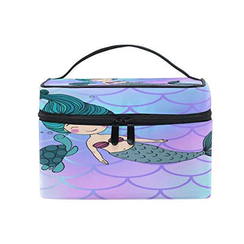 Kosmetiktasche, Meerjungfrau und Schildkröte kosmetische Kulturbeutel Lagerung Veranstalter Fall große Reise Griff Beutel beste Geschenk für Teenager-Mädchen Frauen Lady - Schildkröte Griff