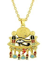 El Ojo de Horus Amuleto Egipto Oro Collar Colgante con Cadena Esmalte