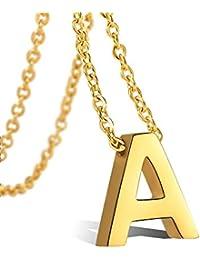 0f66e996c21a VU100 Colgante de Inicial Letra A-Z Colgante para Mujer Niñas de Acero  Inoxidable Chapado en Oro de 18K